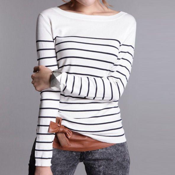 ホット販売女性のニットカシミヤのセータープラスサイズストライプブラックホワイト女性冬服プルオーバーベースシャツ