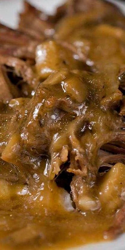 Pot Roast with Mushroom Gravy Recipe ~ a tender roast with the perfect gravy for creamy mashed potatoes.
