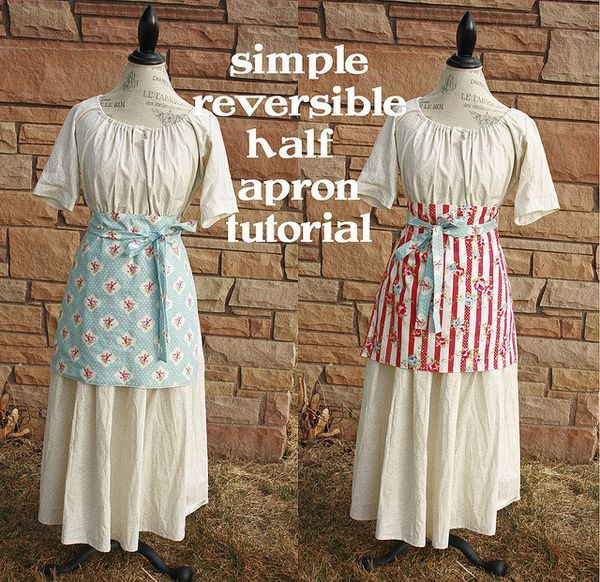 Simple reversible half apron tutorial - great pattern for those new to sewing.