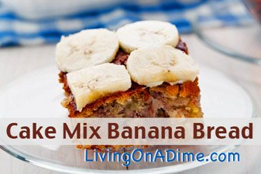 Only 4 Ingredients! Looking for an easy and inexpensive Banana Bread type cake? You can make this easy Cake Mix Banana Bread in less than 5 minutes for around $1.50. Click here to get this yummy banana bread #recipe http://www.livingonadime.com/cake-mix-banana-bread-recipe/.