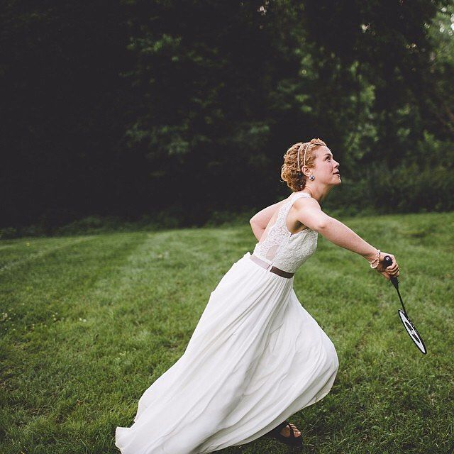 Wedding dresses aren't just for sitting around and looking pretty (ha, as if.) And definitely not when there's badminton to be played.  by @racheljoybaransi #apwwedding