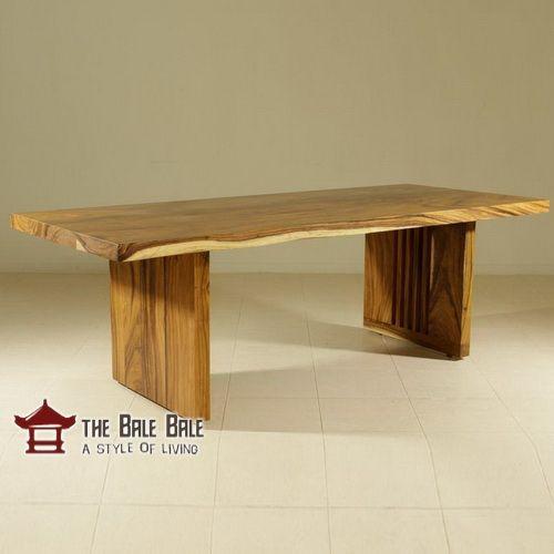meja makan minimalis kayu utuh, trembesi, jati solid