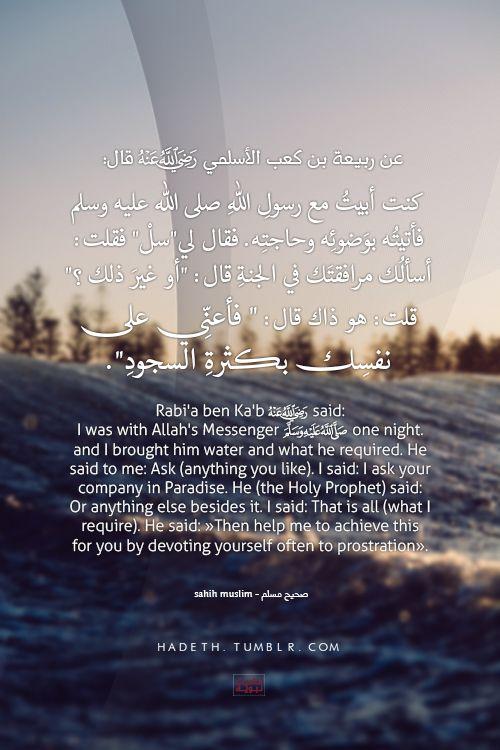 """عن ربيعة بن كعب الأسلمي -رضي الله عنه- قال: كنت أبيتُ مع رسولِ اللهِ صلى الله عليه وسلم فأتيتُه بوَضوئِه وحاجتِه . فقال لي"""" سلْ """" فقلت: أسألُك مرافقتَك في الجنةِ قال: """"أو غيرَ ذلك ؟ """" قلت: هو ذاك قال: """" فأعنِّي على نفسِك بكثرةِ السجودِ"""". صحيح مسلم Rabi'a b. Ka'b said: I was with Allah's Messenger (ﷺ) one night. and I brought him water and what he required. He said to me: Ask (anything you like). I said: I ask your company in Paradise. ..."""