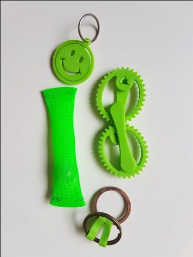 3D printed fidget toy package – green fidget toy package – includes 4 fidget toys to promote tactile stimulation, proprioception for kids who find it hard to sit still, adolescent autism school supplies, learning difficulties focus motivation, classroom fidget