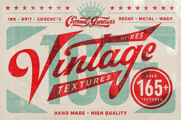 ad Conrad's Vintage Texture Pack Send your design through time by adding CONRAD'S VINTAGE TEXTURE PACK to your designs and add natural aged effects and hand process ink textures. by Conrad Garner Studios on @creativemarket