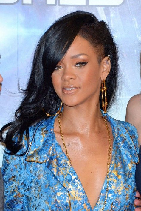 long black hairstyles | Rihanna Layered Long Black Hairstyle for black women