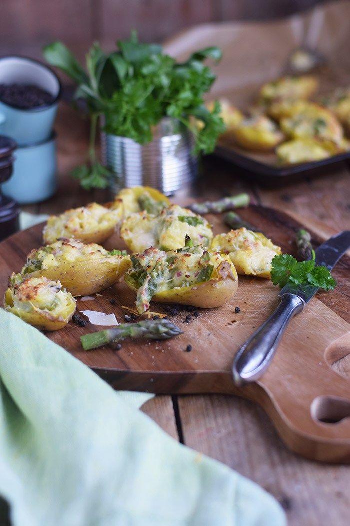 Ofenkartoffeln gefüllt mit Spargel - Oven Potatoes with green asparagus   Das Knusperstübchen