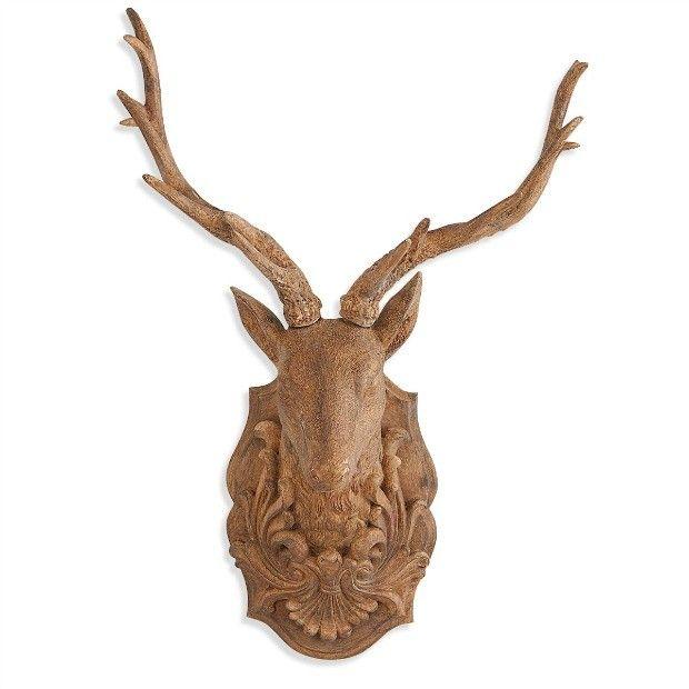 Wooden wall mount deer head.  Rustic farmhouse decor.  #affiliate