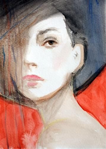 The Black Hat by Victoria Bearden | watercolor painting | Ugallery Online Art Gallery