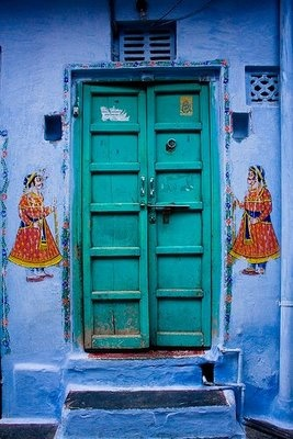 #colorGreen Doors, Blue Wall, Graphics Design, Turquoise Doors, India, Colors Doors, Gates, Doors Colors