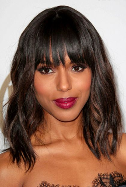 Medium Length Hairstyles To Get You Out Of a Hair Rut. Texture and bangs.