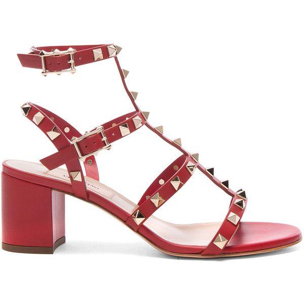Valentino Rockstud Sandal (1,355 CAD) ❤ liked on Polyvore featuring shoes, sandals, heels, mid-heel sandals, metallic heel shoes, metallic heel sandals, heeled sandals and valentino shoes