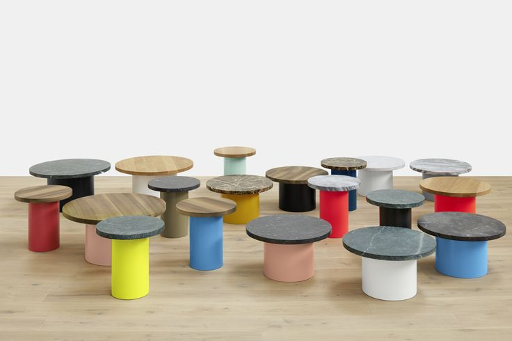 It's all in the mix: side table ENOKI by Philipp Mainzer comes in different materials and colours. / www.e15.com #e15 #oak #marble #walnut