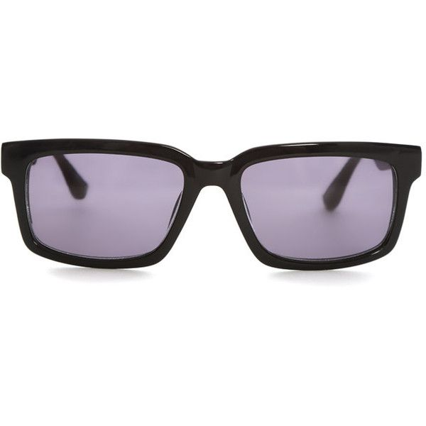 Raf Simons Black Rectangle Sunglasses (€285) ❤ liked on Polyvore featuring accessories, eyewear, sunglasses, home, women's, rectangular sunglasses, rectangular glasses, rectangle glasses, raf simons sunglasses and raf simons