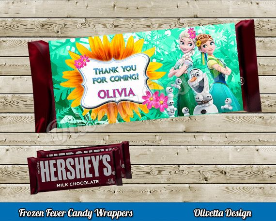 Frozen Fever Candy Bar Wrappers 1.55oz BIRTHDAY party Printable - Personalized - Digital File