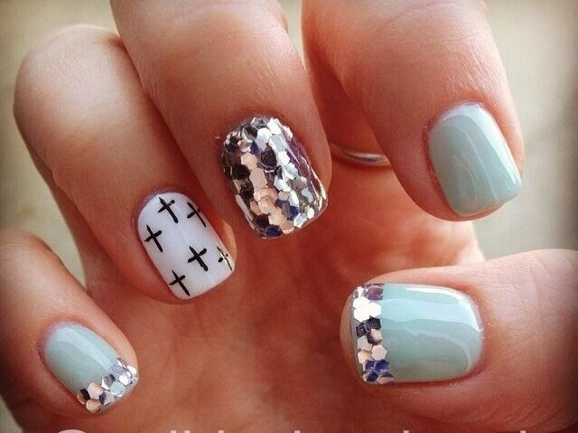Best 25 cross nail designs ideas on pinterest diy nails black light blue polish with silver glitter and white nail with black cross nail design prinsesfo Images