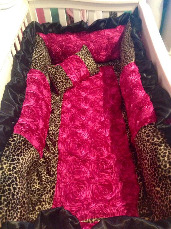 Hot pink and leopard cheetah bedding set by ashtensmeenk on Etsy