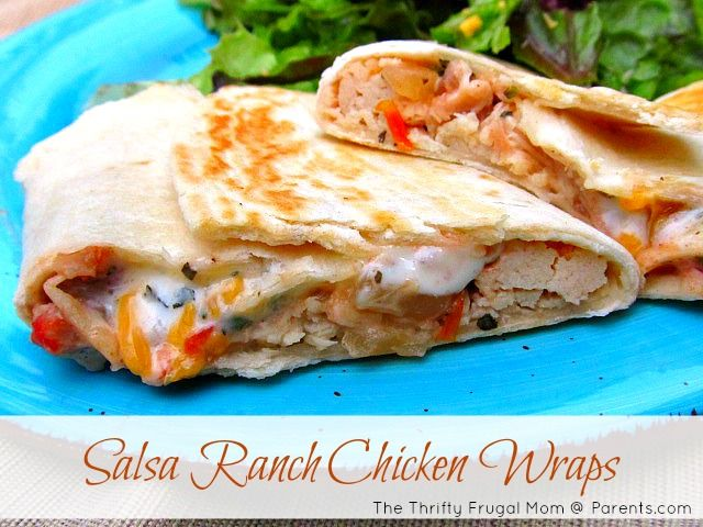 Salsa Ranch Chicken Wraps (using leftover chicken for a quick meal)