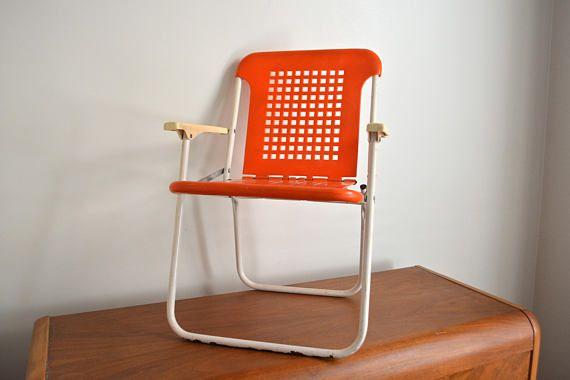 Peachy Small Folding Orange Plastic Children Chair Folding Retro Machost Co Dining Chair Design Ideas Machostcouk