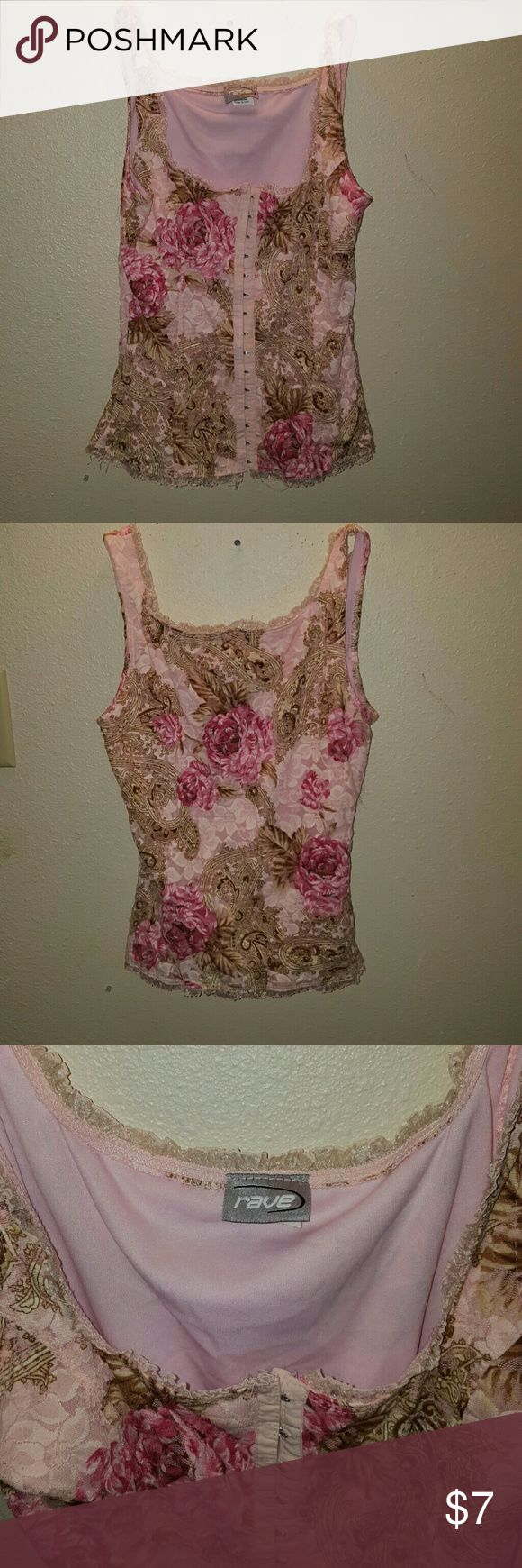 RAVE corset top This is a size medium  (fits like a small) pink floral corset top from RAVE. rave Tops