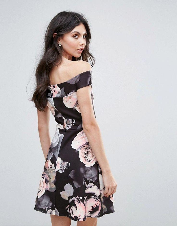 Jessica Wright Floral Bardot Skater Dress - Multi