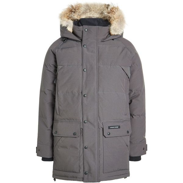Canada Goose Emory Down Parka ($1,095) ❤ liked on Polyvore featuring outerwear, coats, grey, mens parka coats, mens gray pea coat, mens quilted coat, mens grey coat and canada goose mens coat