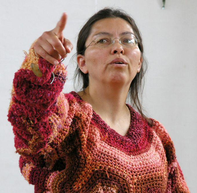 Crocheted freeform sweater by Naja Abelsen