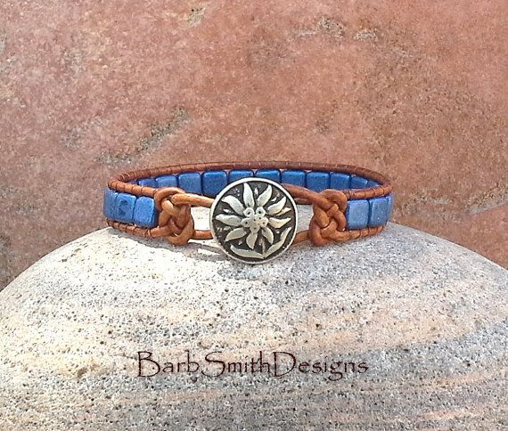 Blue Leather Beaded Wrap Cuff Bracelet - The Skinny One in Knots (Blue Suede)