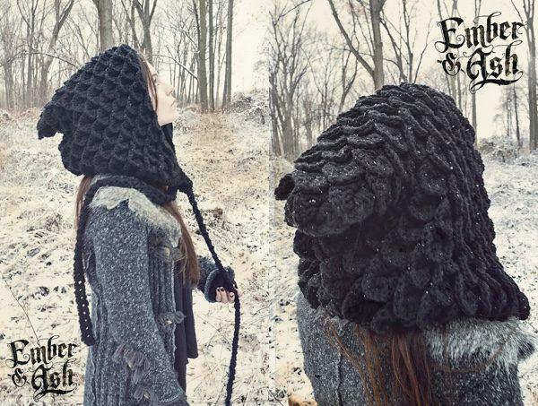 Crocheted Dragon Scale Nomad Hood