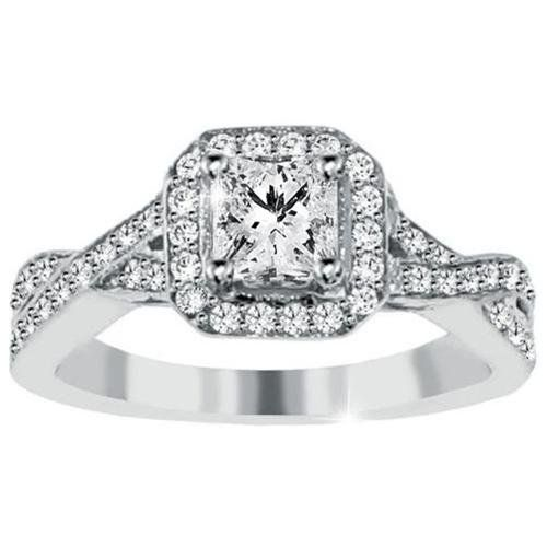 1 15ct princess cut halo infinity twist engagement