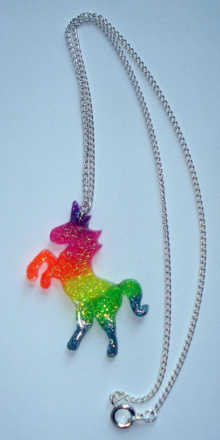 Neon rainbow UV glow glitter unicorn necklace by ToxicGlamour