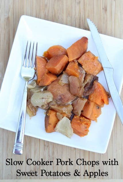 Slow Cooker Pork Chops with Sweet Potatoes and Apples http://www.5dollardinners.com/slow-cooker-pork-chops-with-apples-sweet-potatoes/