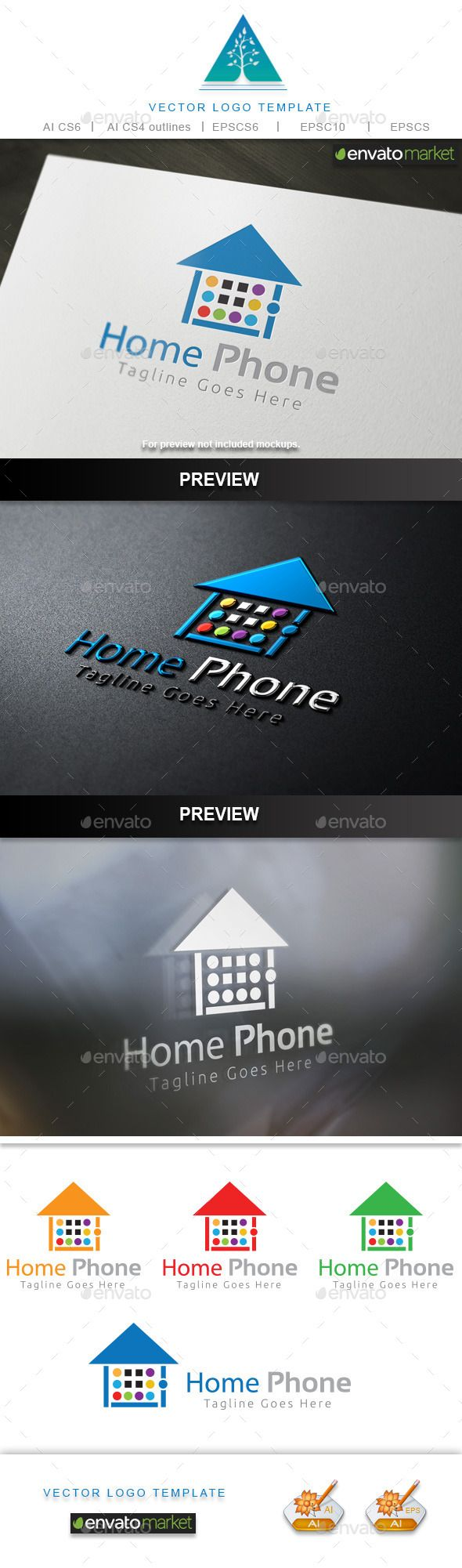 Home Phone Logo — Vector EPS #logo #home • Available here → https://graphicriver.net/item/home-phone-logo/10448857?ref=pxcr