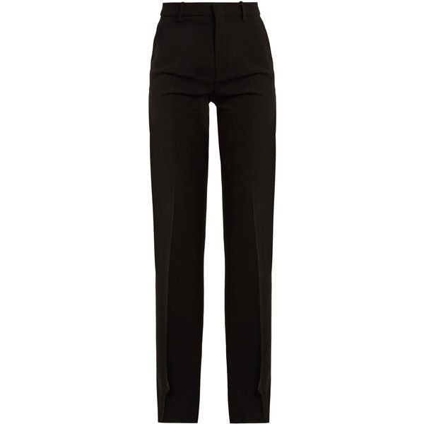 Gucci High Rise Flared Stretch Crepe Cady Trousers 980 Liked On Polyvore Featuring Pants Bottoms Blac High Waisted Flares High Waisted Pants Retro Pants