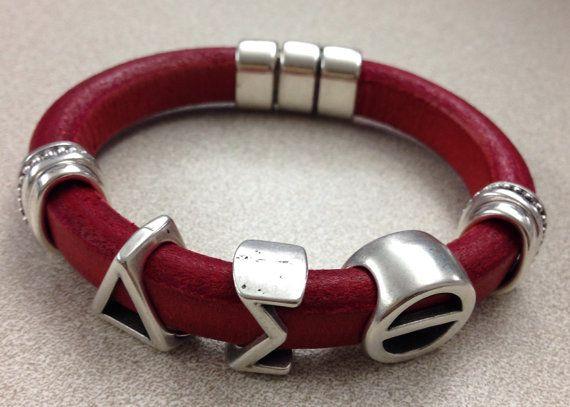Delta sigma theta leather bracelet on etsy delta for Delta sigma theta jewelry