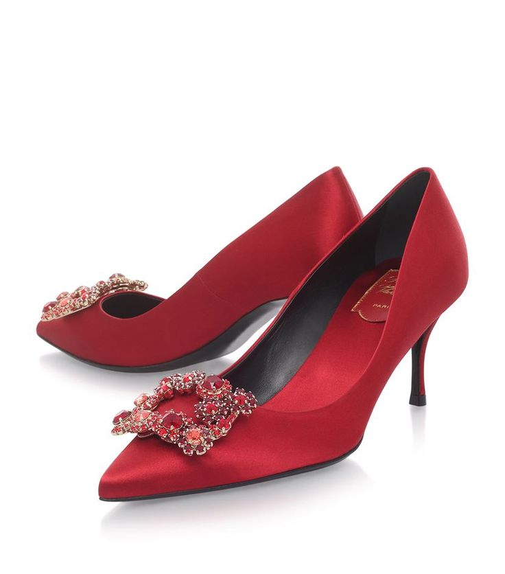 Roger Vivier Decolleté Crystal Buckle Satin Pumps 65 | Harrods