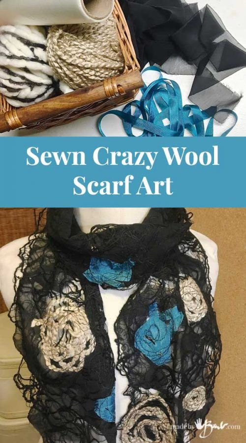 Sewn Crazy Wool Scarf Art - Made By Barb - DIY unique no knit easy scarf