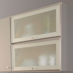 Gray Painted Cabinet With Aluminum Frame Glass Door Open To Show Top Hinge And Stay Braces