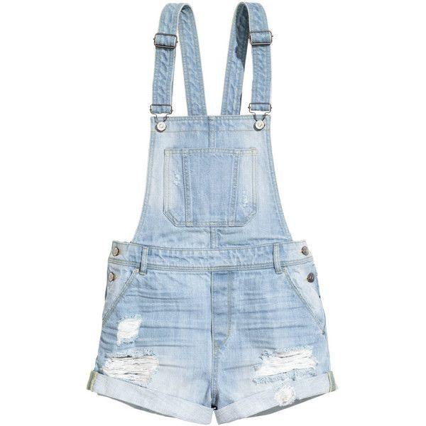 H&M Denim bib shorts ($21) ❤ liked on Polyvore featuring shorts, overalls, bottoms, dresses, light denim blue and h&m                                                                                                                                                                                 More