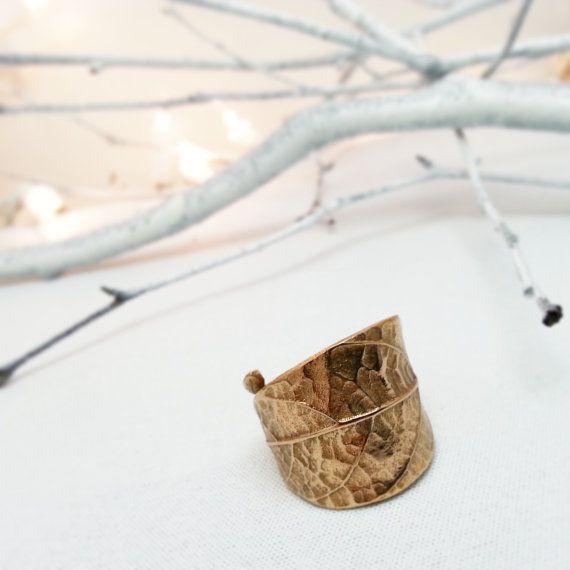 Bague feuille bronze - Feuille d'avocat - Bague feuille - Bague dorée - Doré - Rustique - Nature - Forestier