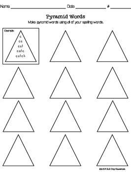 pyramid words spelling practice freebie spelling vocabulary spelling practice spelling. Black Bedroom Furniture Sets. Home Design Ideas