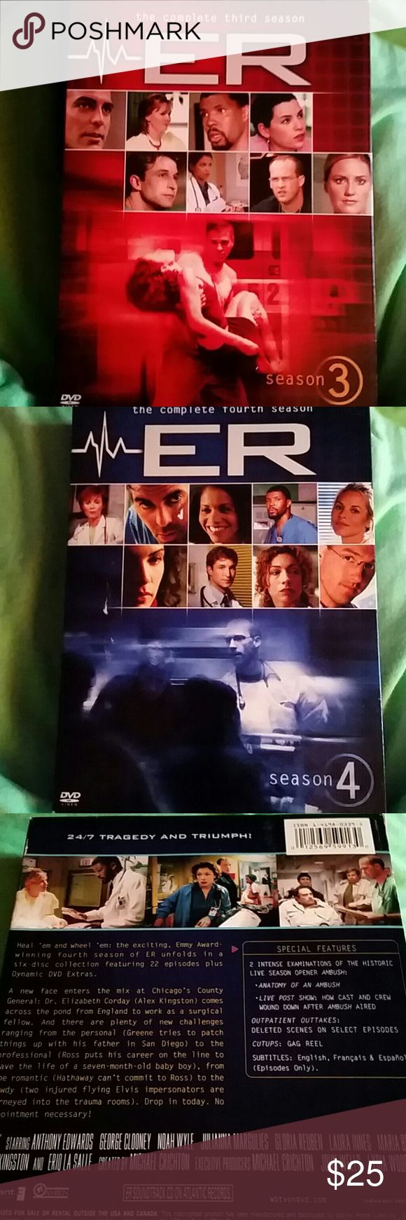 ER THE COMPLETE 3RD AND 4TH SEASON DVD SETS Like new Other