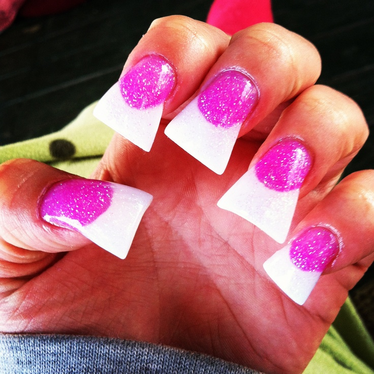Pink And White Acrylic Flared Nails