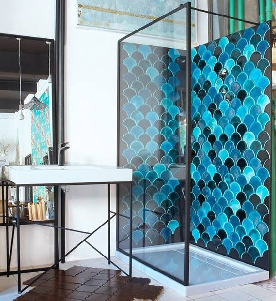 Morocco Fish Scale Ceramic Tile Mix Dark Turquoise Crackle Bathroom Decor Luxury Bathroom Decor Green Tile Bathroom