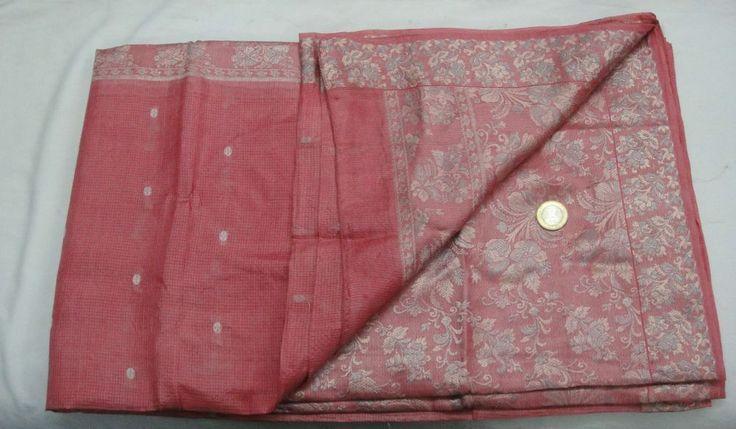 Gorgeous Vintage 100% Pure Silk Saree Women Floral Weaving Woven Seide Sari #Unbranded