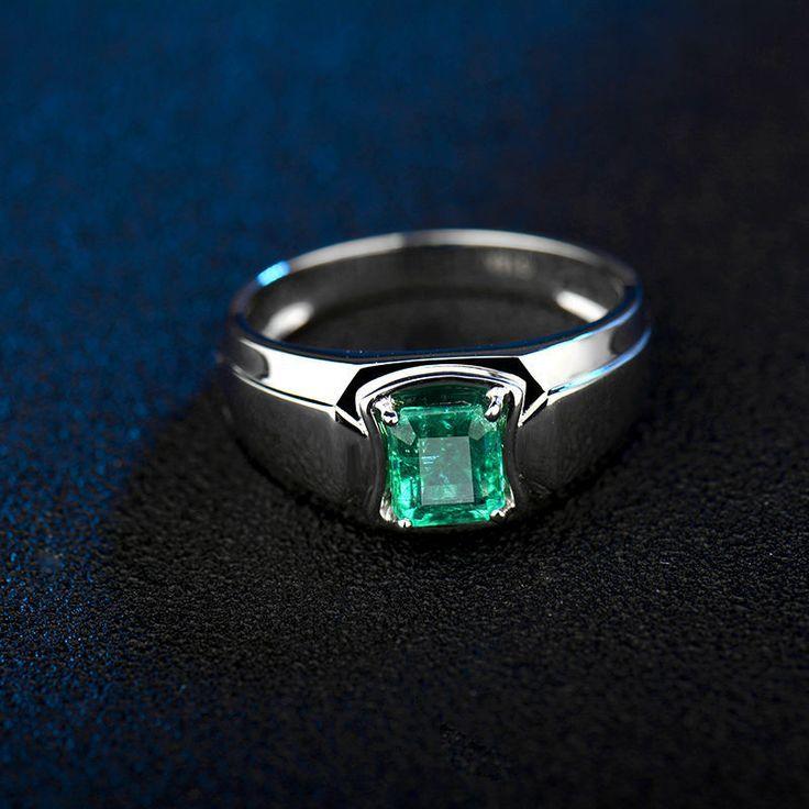 Gemstone Men Ring In 18k White Gold Natural Emerald Ring