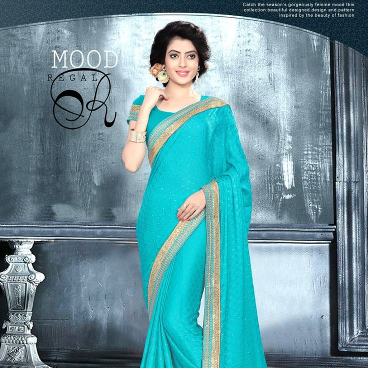 Enhance your dressing style with our latest sky blue trendy saree.  #saree #style #fashion