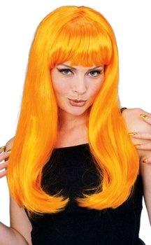 Neon Orange Long Glamour Wig - | Pomeroy Pirate Pride | Pinterest