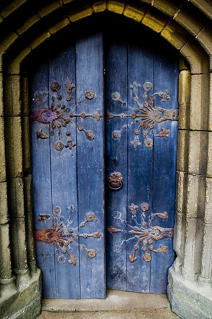 Tynemouth Chapel Door.... omg, looooove the old iron hinges!!!!! and of course the fab blue color!!!!!