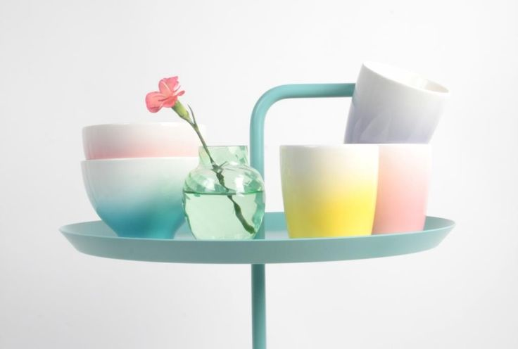 Ombre is still huge and is coming through in homewares as well as fabrics and wallpapers.